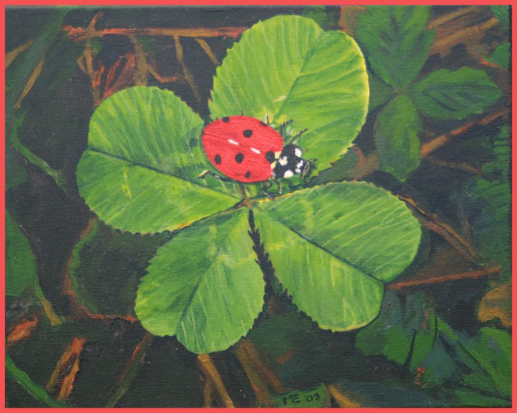 Ongebruikt lieveheersbeestje op klavertje vier | Acryl | Creative Elma | Flickr XR-45