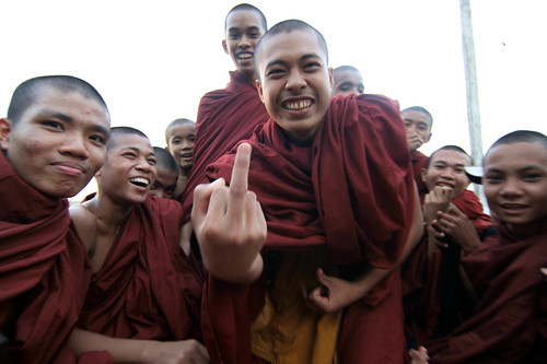 monks with attitude at festival, Yadana Taung near Mawlamyine | by Stuart Butler / Oceansurf