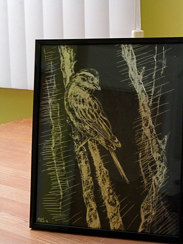 bird yellow illustration silver table drawing crafts sparrow crosshatch scratchboard