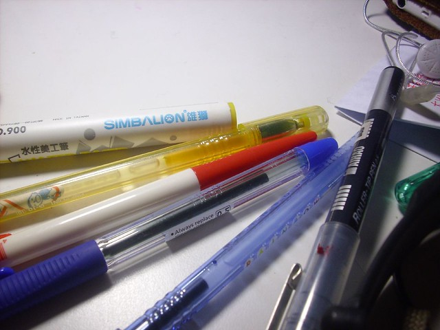 image of promotional pens on a desk