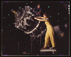 Women are trained to do precise and vital engine installation detail in Douglas Aircraft Company plants, Long Beach, Calif.  (LOC) | by The Library of Congress