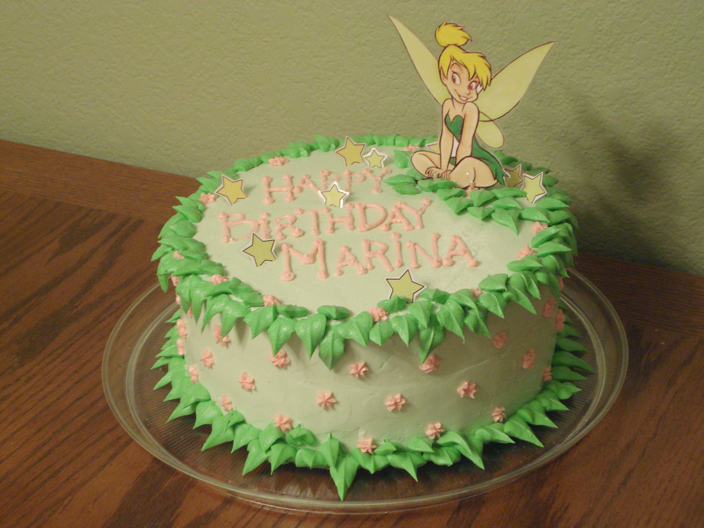 Stupendous Tinkerbell Birthday Cake Butter Cake With Strawberry Filli Flickr Personalised Birthday Cards Cominlily Jamesorg