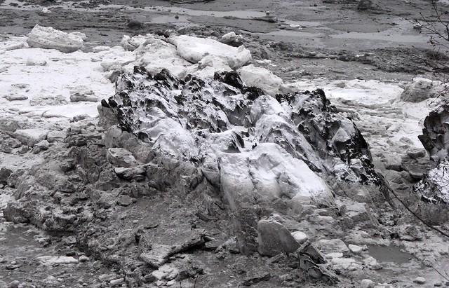 Clum of frozen sludge near Hope, Alaska