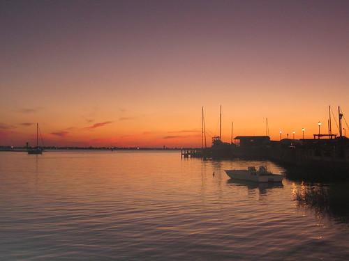 sunset fall water boats northcarolina outerbanks
