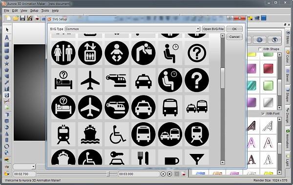 Aurora 3D Animation Maker - svg lib and import | www present