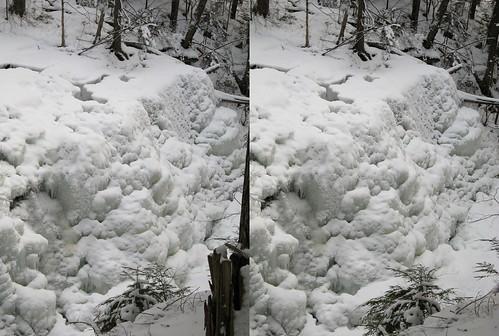 ice waterfall crosseye stereo tremblant