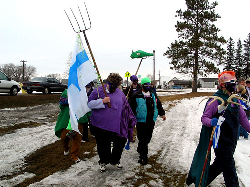 Knights arrive at St. Urho park for annual banish of the grasshoppers