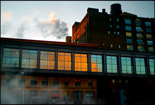 street leica digital sunrise 35mm downtown minneapolis rangefinder steam m8 f2 manualfocus vapor exhaust skyway biogon fauxvelvia i394 zeissbiogon35mmf20 effincold carlzeissbiogont235zm