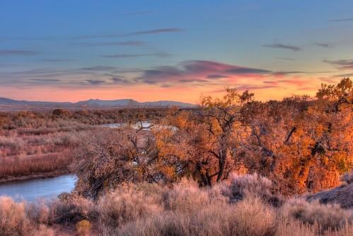 autumn sunset sky newmexico clouds river fallcolors sunsets foliage bosque corrales hdr riogrande cottonwoods manzanomountains manzanos albuquerquenewmexico