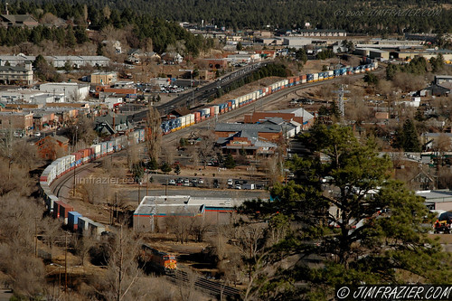 november 2007 flagstaff arizona az q4 city cityscape roads streets train locomotive railroad scenery 200711azandnmtrip 200711aznmpart6 200711flagstaff us66 66 route66 bnsf tracks amtrak depot station machine machinery apparatus railway engine structure infrastructure highway road street commerce commercial business mercantile big vast gigantic vacation travel urban mainstreet downtown streetscene geology mountains burlingtonnorthern santafe burlingtonnorthernsantafe atsf 2008calpot v1000 ©jimfraziercom v2000 wmembed f10 v5000 landscape structures buildings transportation terminal trainstation railroads railways frazierstock intermodal