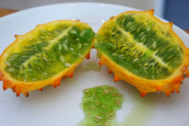 Halved Kiwano Melon and Slop