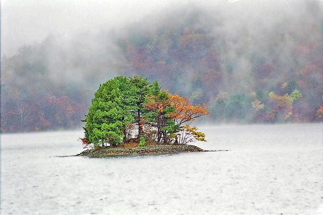 Small island in lake Chuzenji, Japan