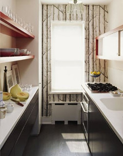 white kitchen, black cabinets, red shelves, woods wallpaper | by Anna @ D16