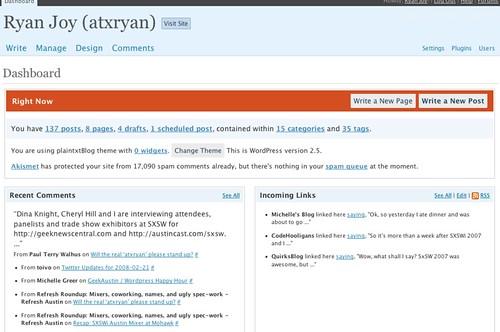 Ryan Joy (atxryan) Dashboard - WordPress 2.5 Screenshot