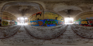 Under the overpass! - Equirectangular Panorama in Quebec City | by haban hero