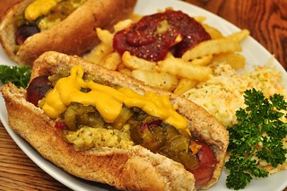 Mmm... hot dogs loaded with relish and mustard | by jeffreyw