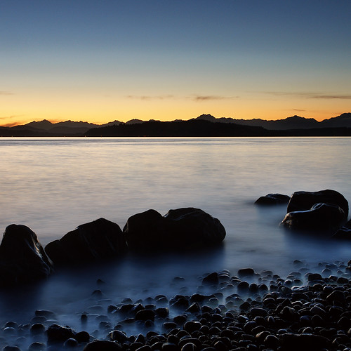 seattle longexposure sunset mountain seascape beach silhouette landscape washington rocks dusk scenic alki pugetsound olympics olympicmountains davidhogan