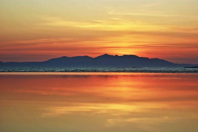 Arran Sunset Reflects on Beach