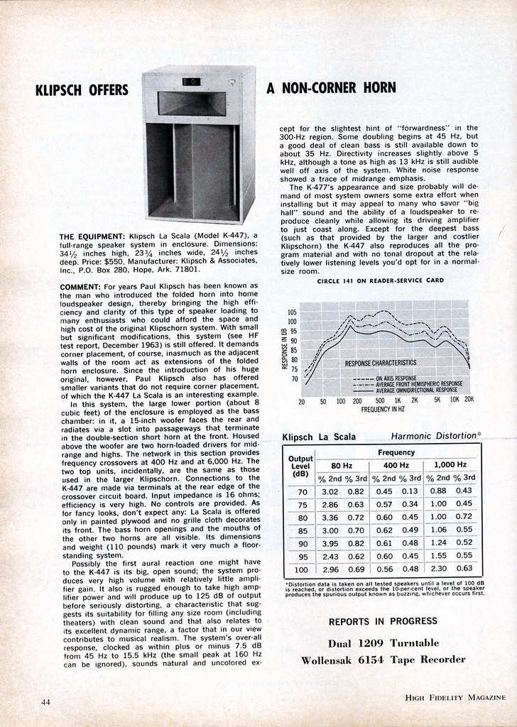 High Fidelity Magazine review Klipsch La Scala horn loaded loudspeaker 1971