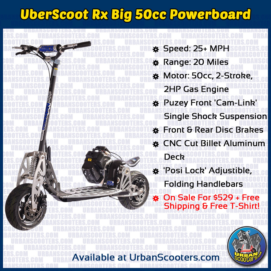 UberScoot Rx Big 50cc Powerboard Gas Scooter | The UberScoot