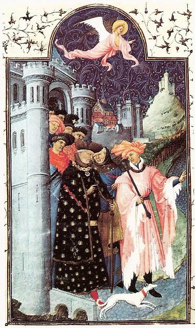 Pol de Limbourg: The Duc de Berry setting out on a journey.