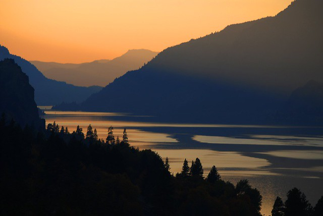 sunset in the columbia river gorge
