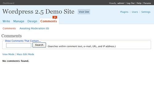 WordPress 2.5 Comment Screen