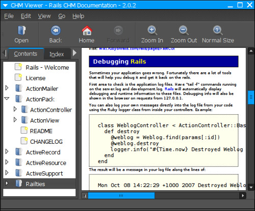 CHM viewer on GNOME | GnoCHM gnochm sourceforge net/ Rails C