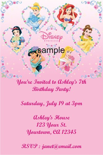 Personalized Party Invites Disney Princess Invitations