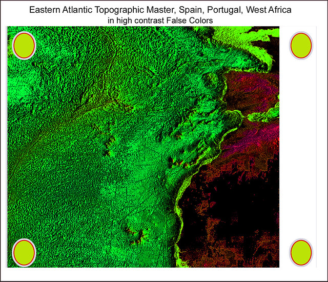 Eastern Atlantic, Spain, Portugal, Gibraltar, West Africa: Topographic