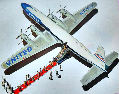 1950s United Airlines Vintage Advertisement Illustration A