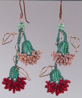 Bead Crochet Carnation Earrings