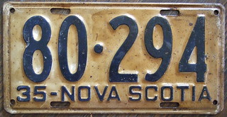 NOVA SCOTIA 1935 license plate