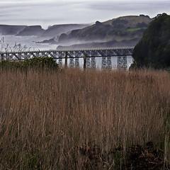 Rita Crane Photography: California / ocean / coast / bridge / fog / mist / Mendocino / View of Albion Bay & Bridge, Mendocino Coast