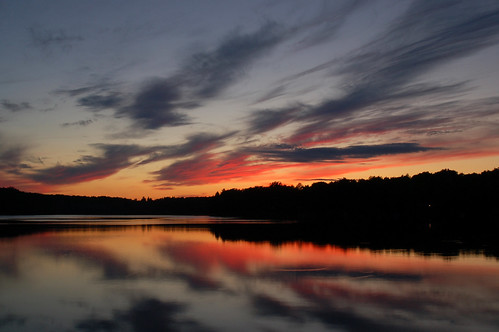 trees sunset sky reflection water colors silhouette clouds mirror michigan upnorth glennie alconacounty vaughnlake