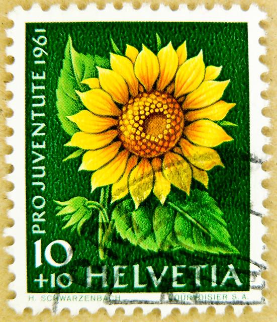 great stamp Helvetia 10+10 r. charity pro juventute (sunflower tournesol sonnenblume girasol) Switzerland timbres Suisse Swiss franco Schweiz Briefmarke porto francobolli Svizzera bollo selos suiza 邮票瑞士 yóupiào Ruìshì марка Швейцария