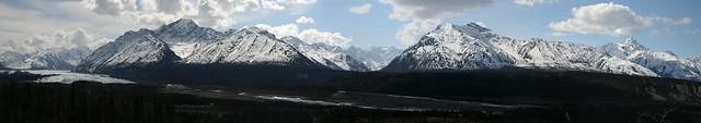 Stitched shot of the mountains around the Matanuska Glacier