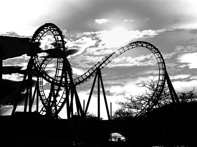 sunset  roller coaster in black and white