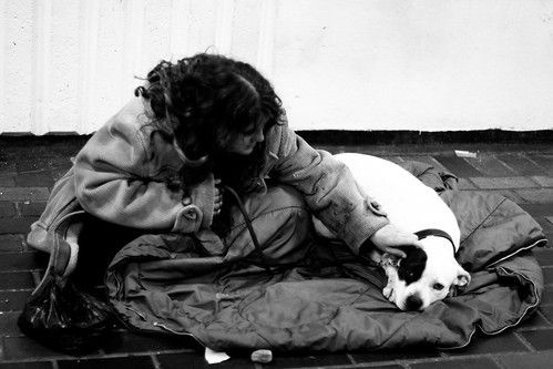 Homeless woman with her dog | by SimonWhitaker