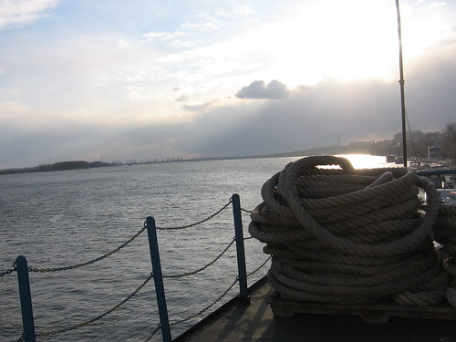 sunset water ship rope danube