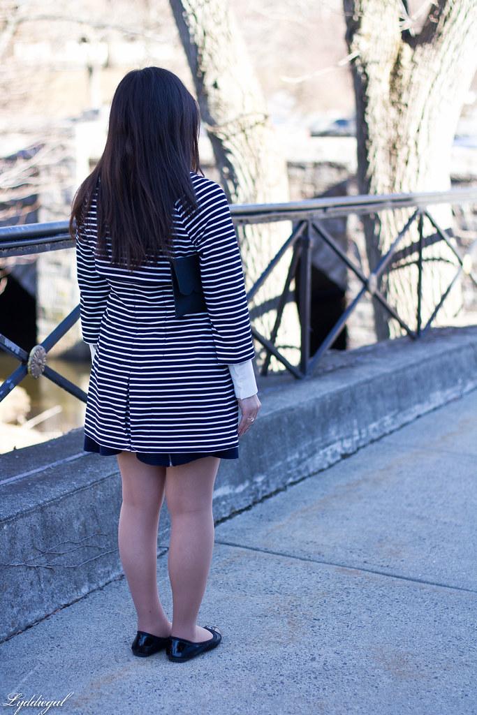 42b35f79651c12 striped coat, scalloped blouse, navy skirt, anchor bracele… | Flickr