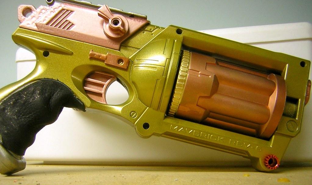 Steampunk Nerf Maverick 07   Finally done. Leather grip.   Flickr