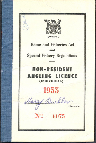 1953 Ontario CANADA Non-Resident Fishing License Front | by UpNorth Memories - Donald (Don) Harrison