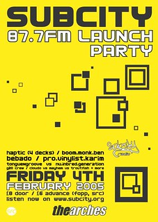 FM Launch Party February 2005 poster | by Subcity Radio