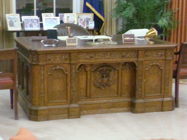 Resolute Desk replica - Oval Office - Ronald Reagan Presidential Library, Simi Valley, California