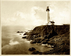"Eadweard Muybridge, ""Untitled (Lighthouse)"", 1868, Mammoth plate, Albumen print, 16 1/2 x 21 1/4"", The Oakland Museum. 