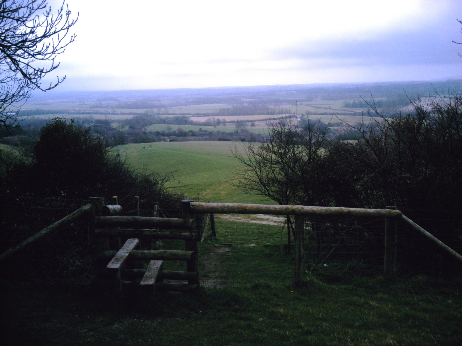 Book 2 Walk 25 Lewes via West Firle Circular View from above Glynde (just below Mount Caburn). D.Allen VIVITAR 5199mp