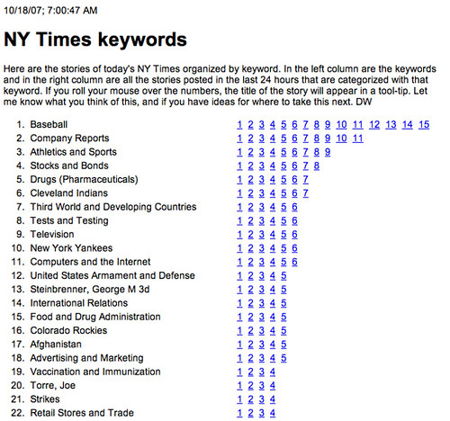 NY Times keywords screen shot, Day 2 | by scriptingnews