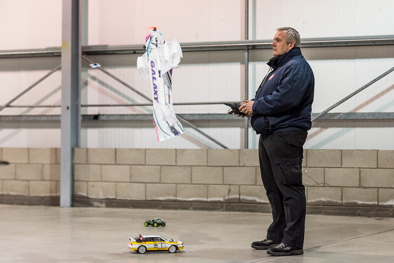 Phil flying his HK Galaxy and Nathan with his Inductrix with a few cars for good measure!