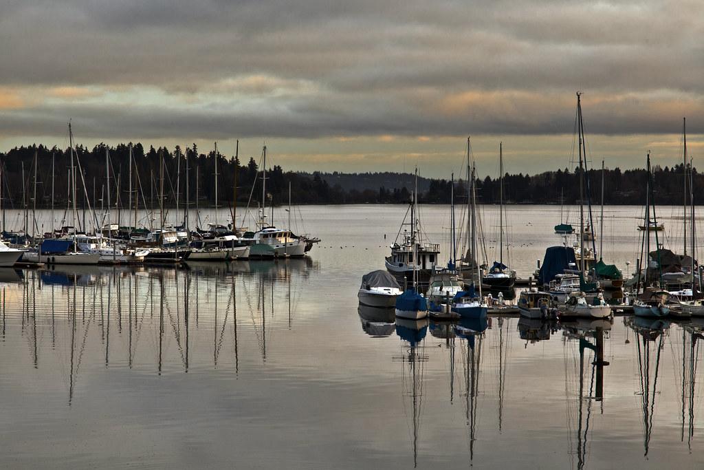 Cloudy sunrise over Burton Marina